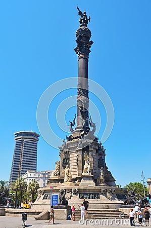 Columbus Monument in Barcelona, Spain Editorial Stock Image