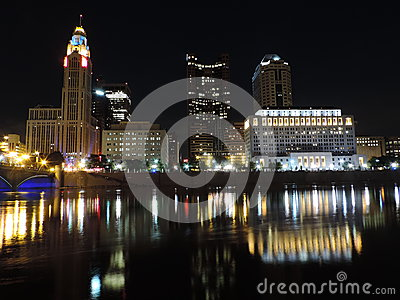 Columbus skyline at night