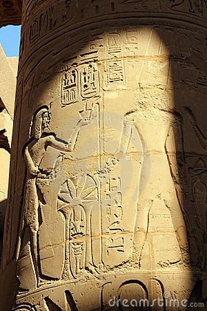 Column with ancient egypt images and hieroglyphics