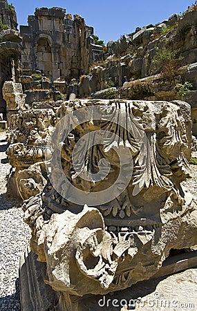 Column Heads Of Amphitheater