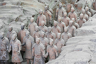 A Column of Terracotta Army Soldiers