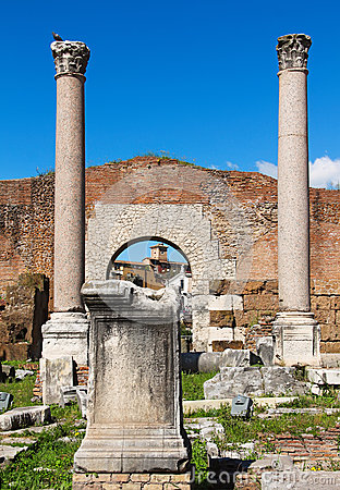 Free Columns And Ruins Of  Basilica Aemilia In The Roman Forum Stock Photography - 31006302