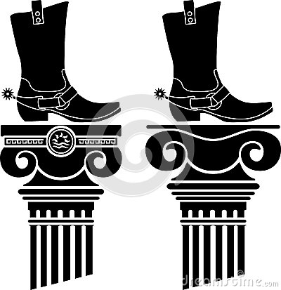 Columns and boots with spurs