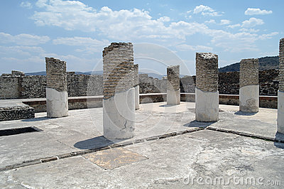 Columns of a building in the complex of pyramids