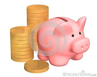 Columns of gold coins, near to a pig a coin box