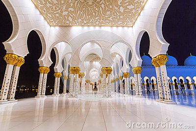 Columns of Grand Mosque in Abu Dhabi