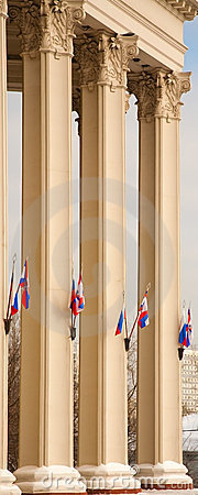 Columns of Moscow theatre with flags