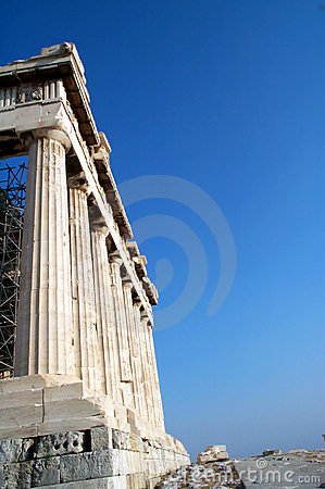 Columns at the Parthenon Stock Photo