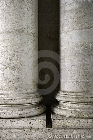 Columns at the Roman Forum in Italy.