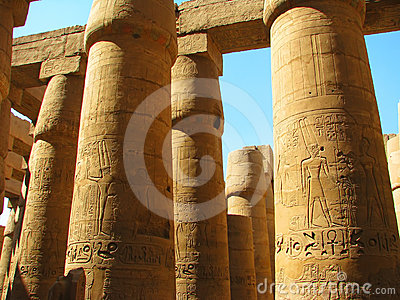Columns with stone carved Egyptian hieroglyphics