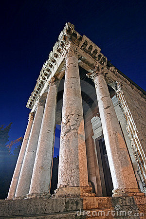 Columns of the temple of Augustus in Pula