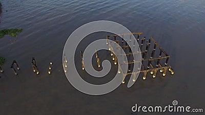 Colunas restantes do estabelecimento de construção arruinado construído na lago-costa vídeos de arquivo
