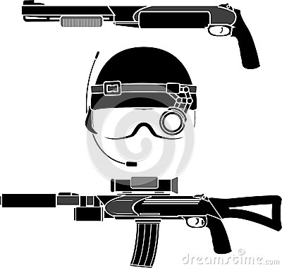 Combat helmet and weapons