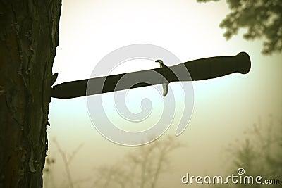Combat knife in tree