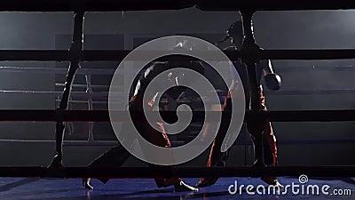 Combattendo nell'anello fra due ragazze in uno spazio scuro Movimento lento stock footage
