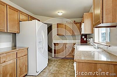 Combinaci n de madera del almacenamiento de la cocina y for Cocina y refrigerador juntos