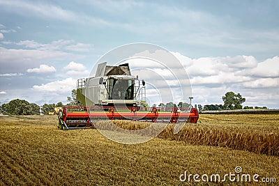 Combine harvester at corn