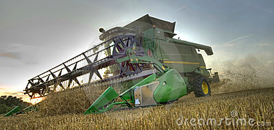 Combine harvester at work as hdr image