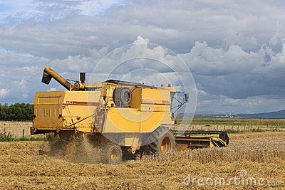 Combine Harvester At Work In Cereal Field. Royalty Free ...