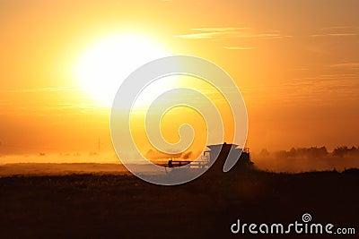 Combine in Sunset