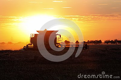 Combine in Sunset