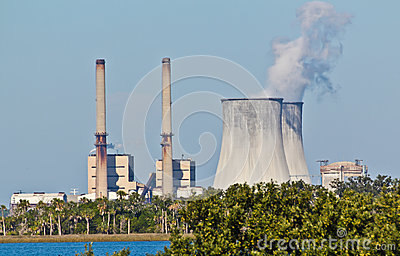 Combined Oil Fired and Nuclear Plants Editorial Stock Image