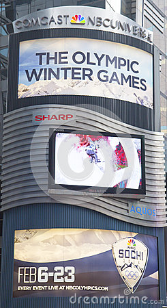 Comcast NBC Universal billboard decorated with Sochi 2014 XXII Olympic Winter Games logo near Times Square in Midtown Manhattan Editorial Image