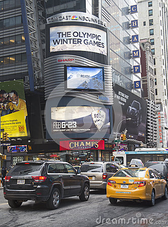 Comcast NBC Universal billboard decorated with Sochi 2014 XXII Olympic Winter Games logo near Times Square in Midtown Manhattan Editorial Photo
