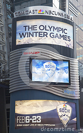 Comcast NBC Universal billboard decorated with Sochi 2014 XXII Olympic Winter Games logo near Times Square in Midtown Manhattan Editorial Photography