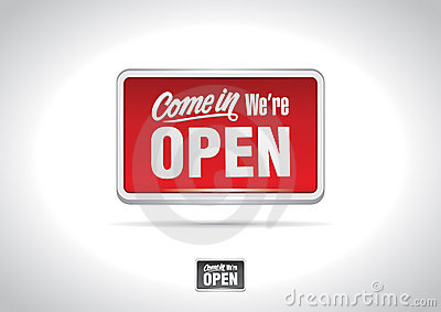 Come in we re open placard icon