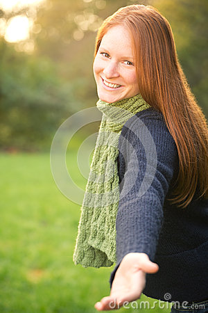 Free Come With Me - Woman Giving A Hand Royalty Free Stock Photos - 35232218