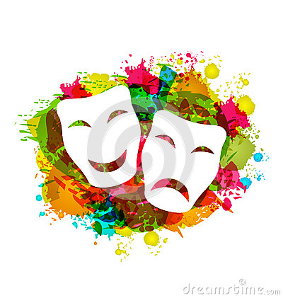 Free Comedy And Tragedy Simple Masks For Carnival On Colorful Grunge Royalty Free Stock Image - 48349316