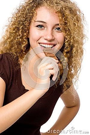 Comendo o chocolate