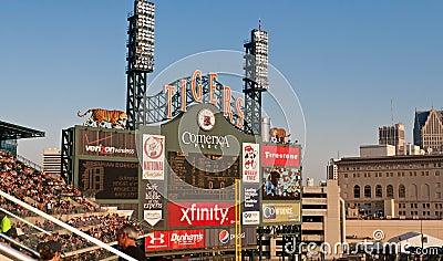 Comerica Park Scoreboard Editorial Stock Image