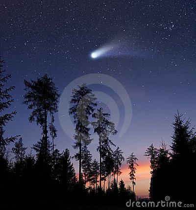 A comet in the evening sky