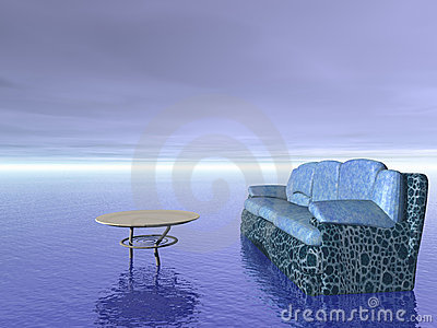 Comfort concept: sofa and table furniture