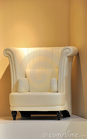 Comfortable chair under light