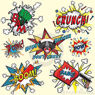 Comic book explosions and icons