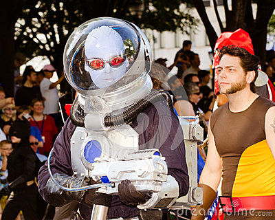 A comic book fan dressed as Mr. Freeze Editorial Image