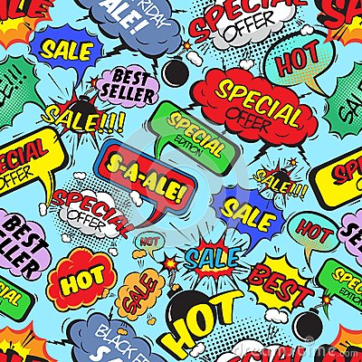Free Comic Bubbles Seamless Sale Stock Photos - 39503033