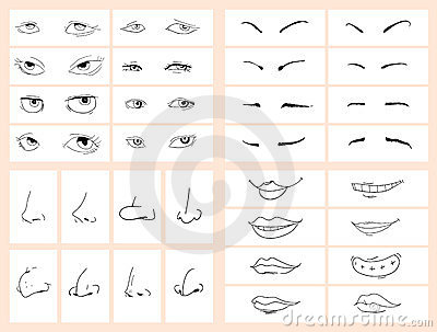 Comic doodle face set