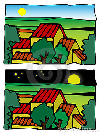 Comic farm scene vector illustration