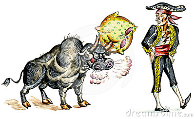 Comic illustration of matador and bull