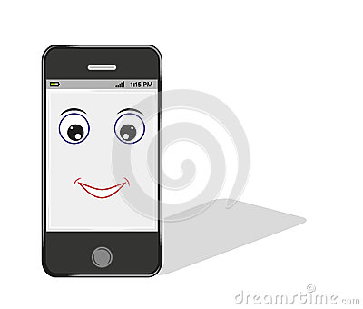 Comic smartphone with eye and smile