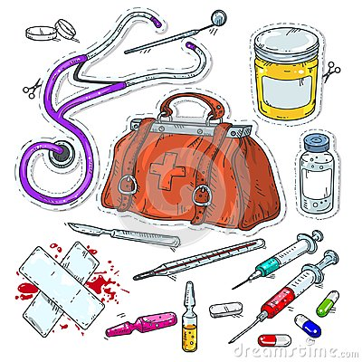 Free Comic Style Icons, Sticker Of Medical Tools, Doctor Bag Stock Photo - 109891170
