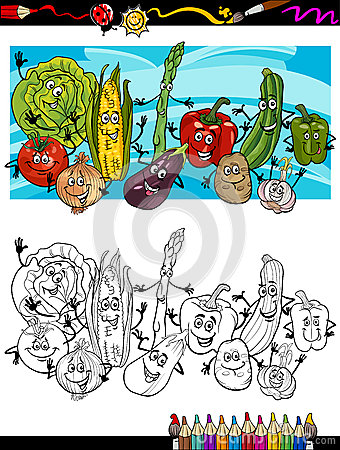 Comic vegetables cartoon for coloring book