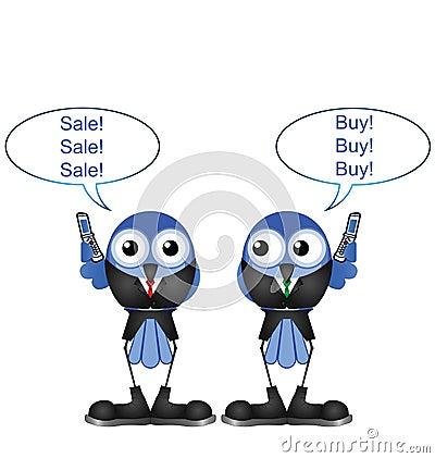 Comical bird stock traders