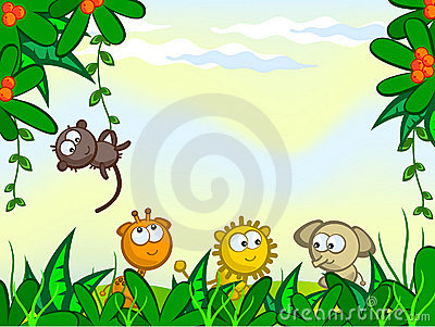 Comical jungle background