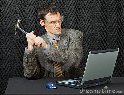 Comical person break computer with hammer