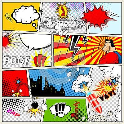 Free Comics Template. Vector Retro Comic Book Speech Bubbles Royalty Free Stock Photography - 58381877